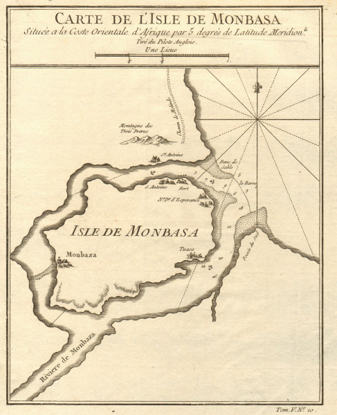 Associate Product 'Carte de I'Isle de Monbasa'. Mombasa Island, Kenya. BELLIN 1748 old map