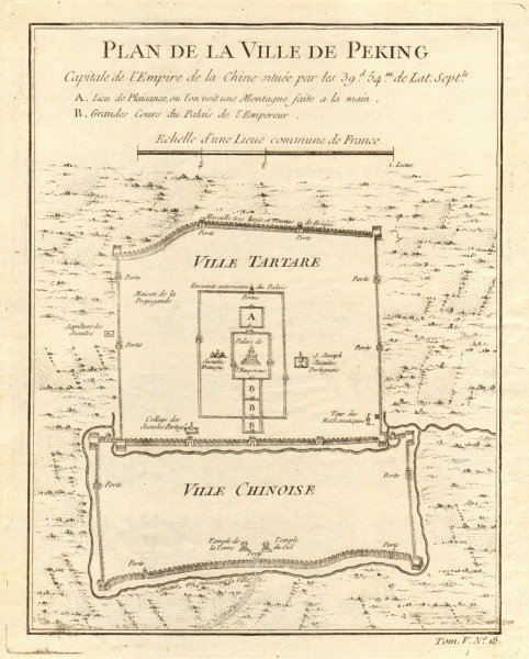 Associate Product 'Plan de la Ville de Peking'. City plan of Beijing, China. BELLIN 1748 old map