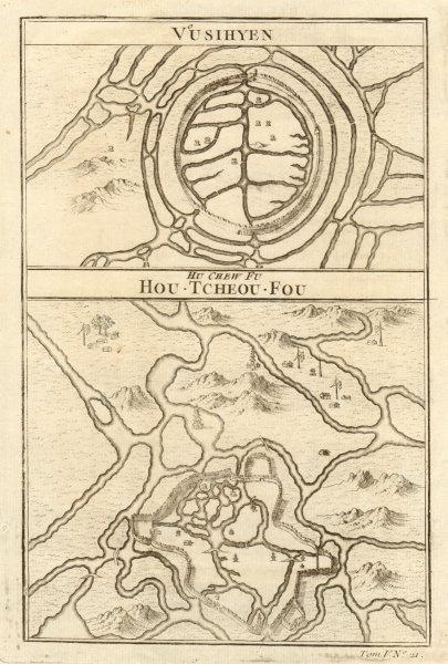 Associate Product 'Vusihyen - Hu-chew-fu…'. Wuxi & Huzhou city walls plans. China. BELLIN 1748 map