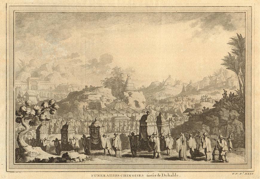 'Funerailles Chinoises'. China. A Chinese funeral. Jiao sedan chairs 1748