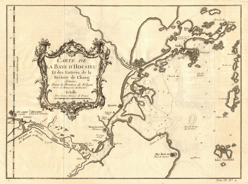 Associate Product 'Carte de la Baye d'Hocsieu'. Fuzhou Fujian China Minjiang River BELLIN 1748 map