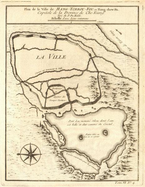 Associate Product 'Hang-Tcheou-Fou'. Hangzhou city plan Zhejiang China. West Lake. BELLIN 1748 map