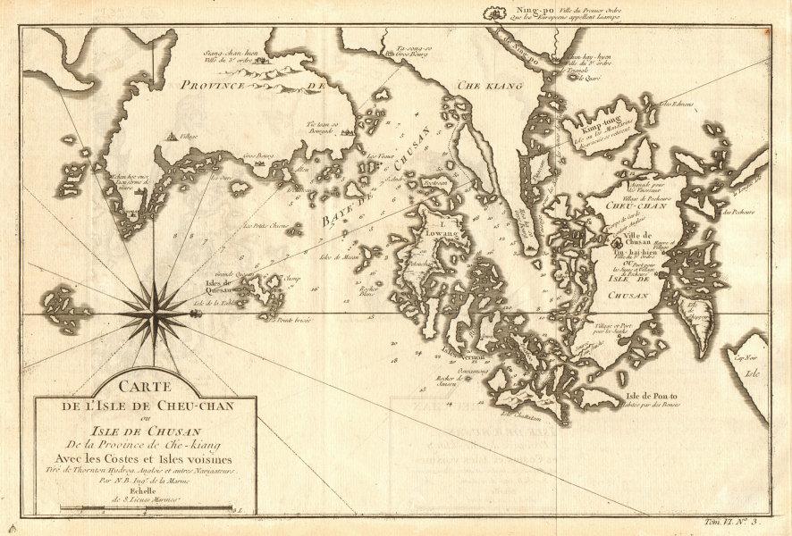 Associate Product 'L'lsle de Cheu-Chan'. Ningbo city & Zhoushan island, China. BELLIN 1748 map