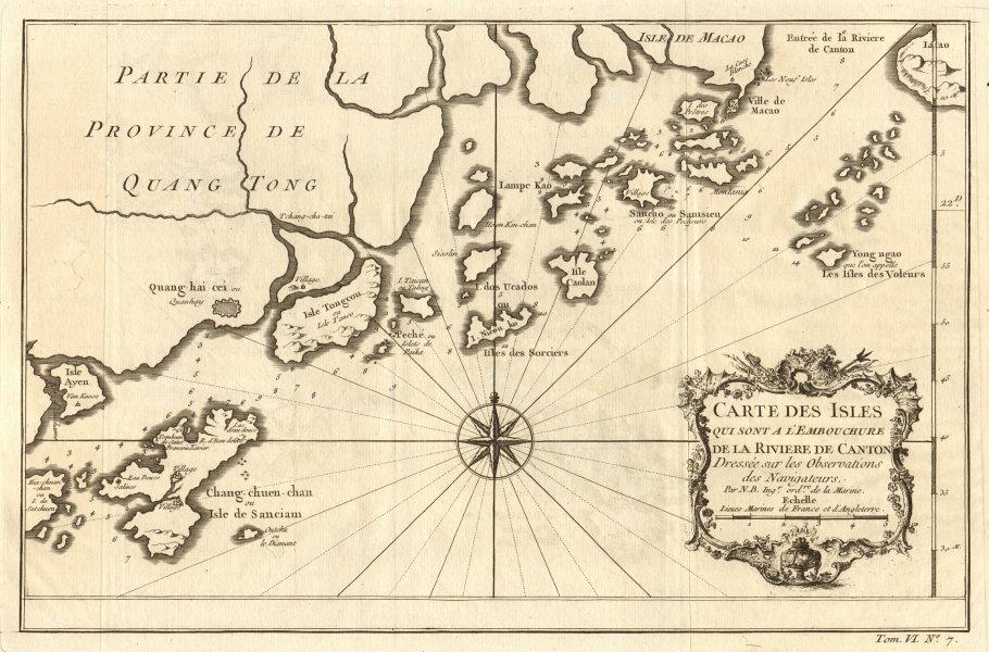 Associate Product Pearl River delta. Macau Lantau Chuanshan Wanshan islands Zhuhai BELLIN 1748 map