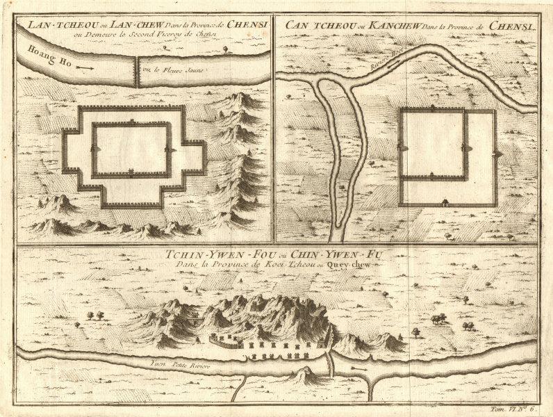 Lanzhou, Shanxi; Zhangye, Gansu & Zhenyuan, Guizhou city plans. BELLIN 1748 map