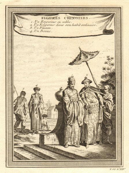 Associate Product 'Figures Chinoises'. Chinese Emperor. Buddhist monk / Bonze. China 1748 print