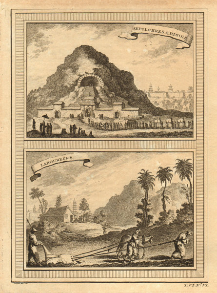 Associate Product 'Sepulchres Chinois; Laboureurs'. Chinese tombs / mausoleum. Farmers. China 1748