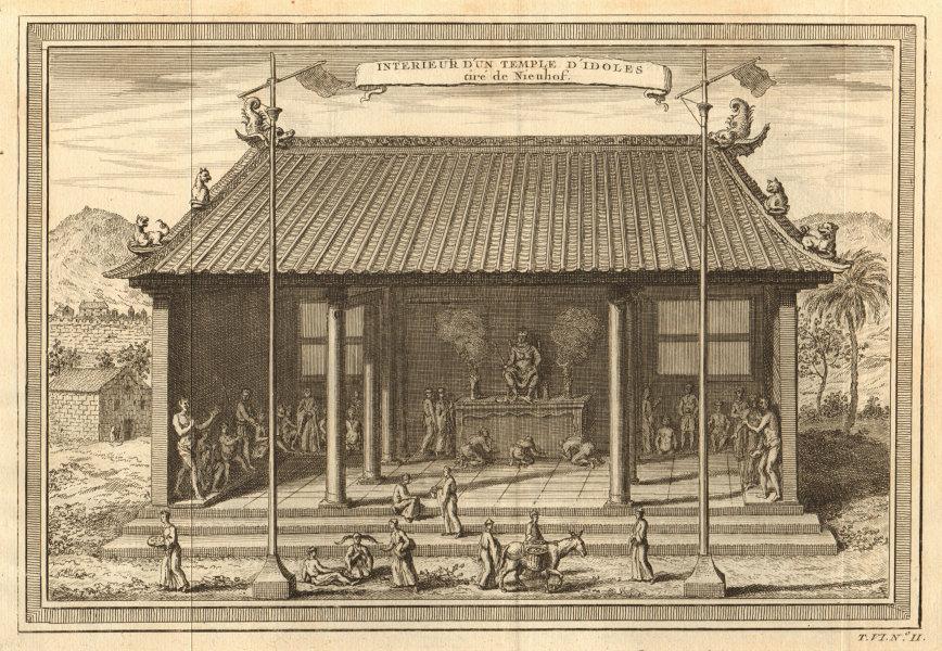 'Interieur d'un Temple d'ldoles'. China. Temple of idols. Confucius 1748 print