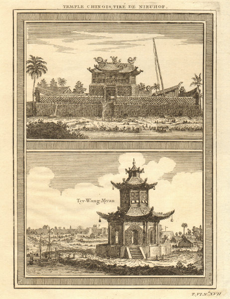 Associate Product Temple Chinois. China Chinese temples; Tey Wang Myan, Sin ko tsyen 1748 print