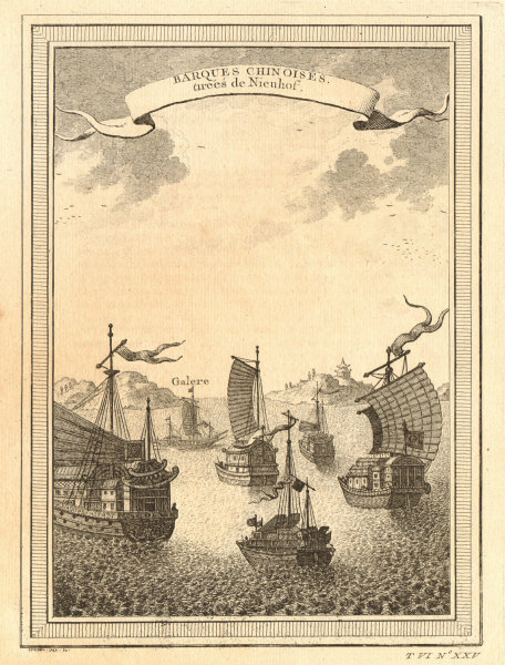 Associate Product 'Barques Chinoises'. China. Chinese junks or boats, from Nieuhof 1748 print