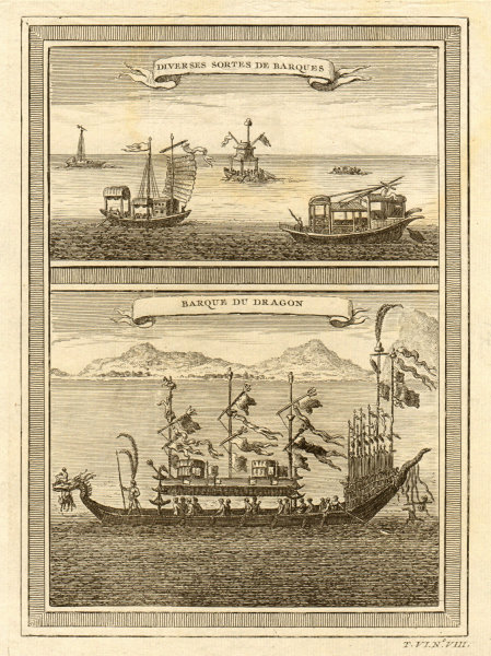 Associate Product 'Barque du Dragon'. Chinese boats. Junks. Dragon boat. China 1748 old print