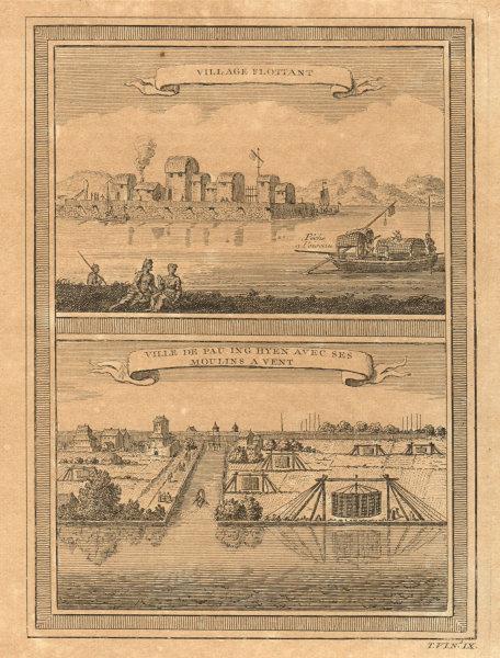 Associate Product China. Tanka floating fishing village. Baoying, Jiangsu. Windmills 1748 print