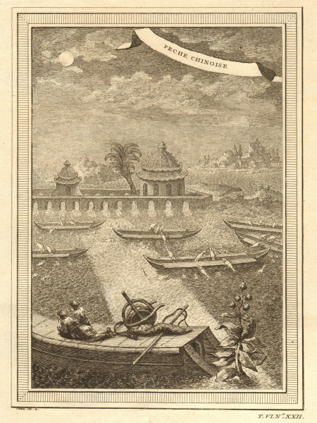 Associate Product Peche Chinoise. China. Chinese fishing method jumping into varnished boats 1748