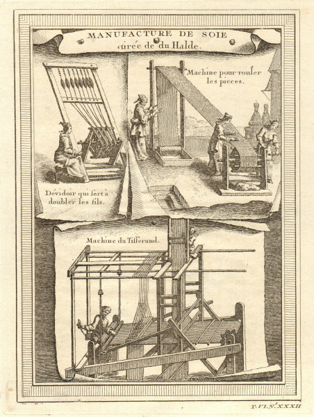 Associate Product China. Silk manufacture. Machine for doubling filaments. Weaving 1748 print