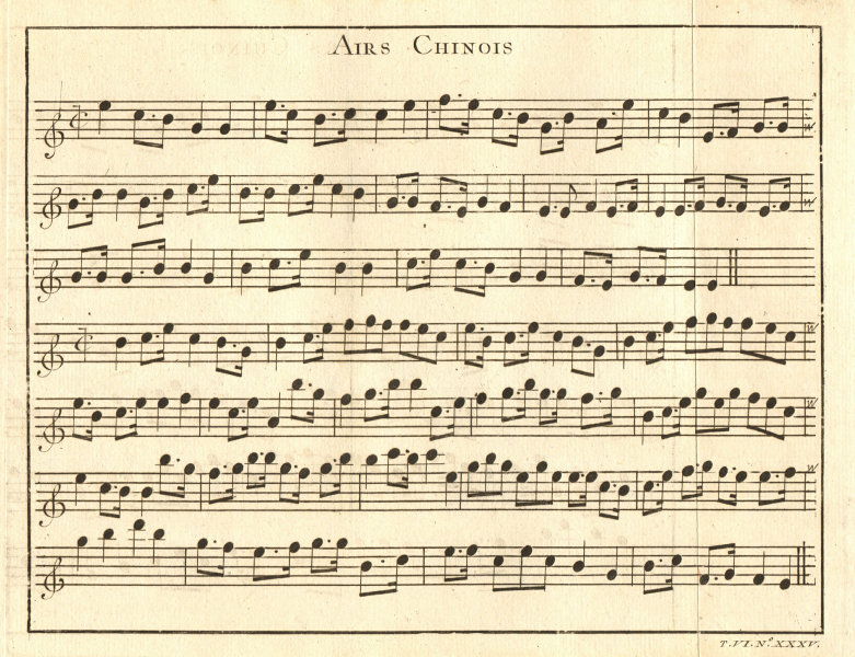 Associate Product 'Airs Chinois'. China. Chinese aria song sheet music.  1748 old antique print