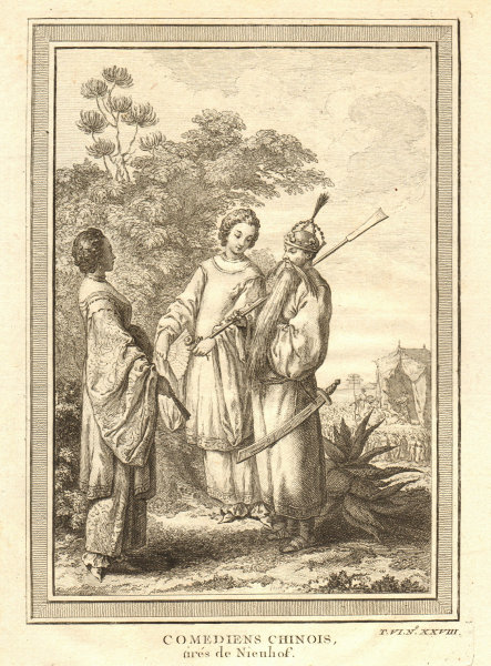 Associate Product 'Comediens Chinois'. China. Chinese comedians or actors. Nieuhof 1748 print