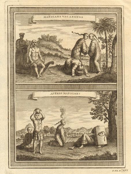 Chinese beggars. Skewered cheeks. Burning coals. Banging heads. China 1748