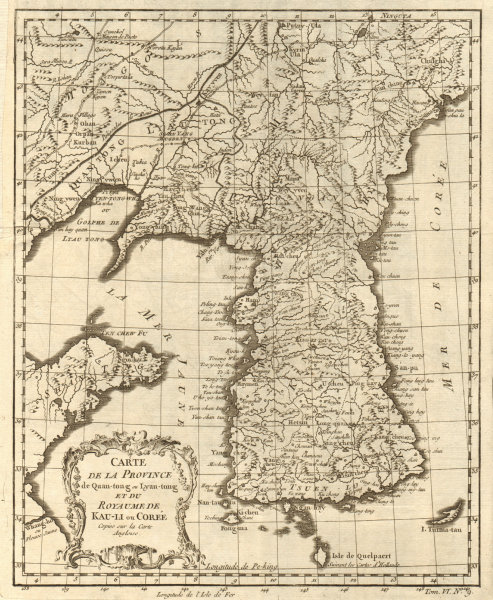Associate Product 'Province de Quan-tong… & Royaume de Kauli ou Corée'. Korea. BELLIN 1748 map