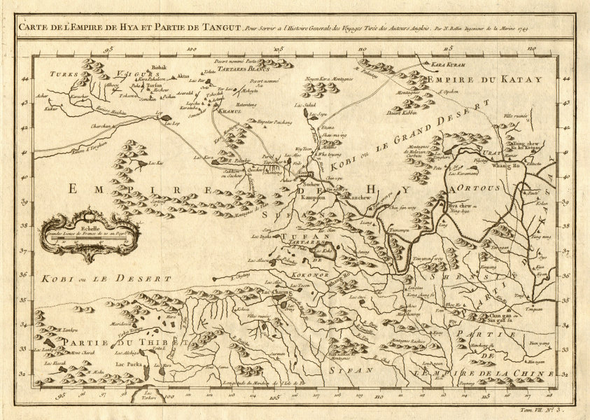 Associate Product 'L'Empire de Hya et partie de Tangut' Xi Xia China Mongolia Gobi BELLIN 1749 map
