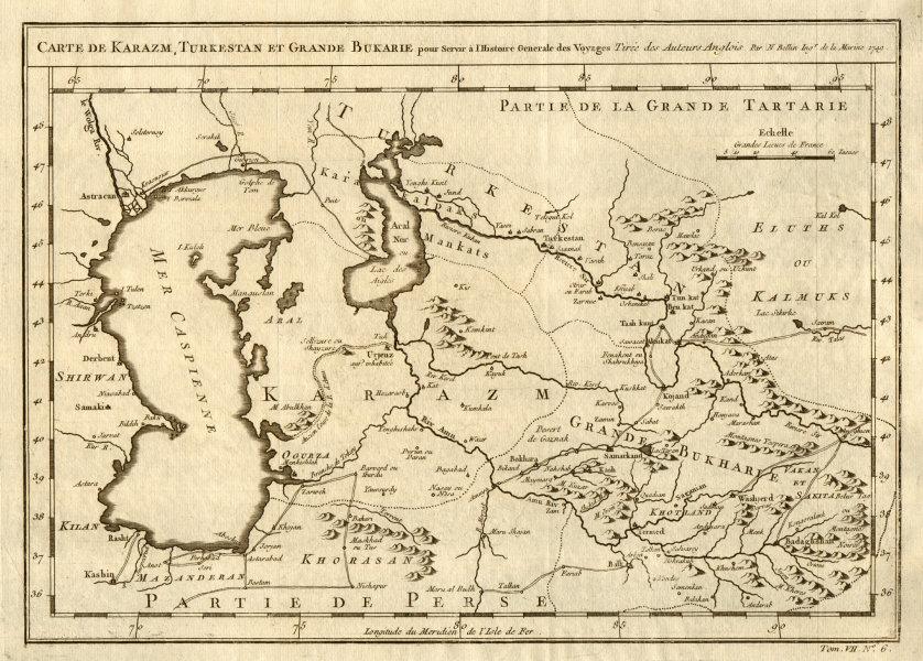 Associate Product 'Karazm, Turkestan & Grande Bukarie'. Central Asia. Caspian Sea. BELLIN 1749 map