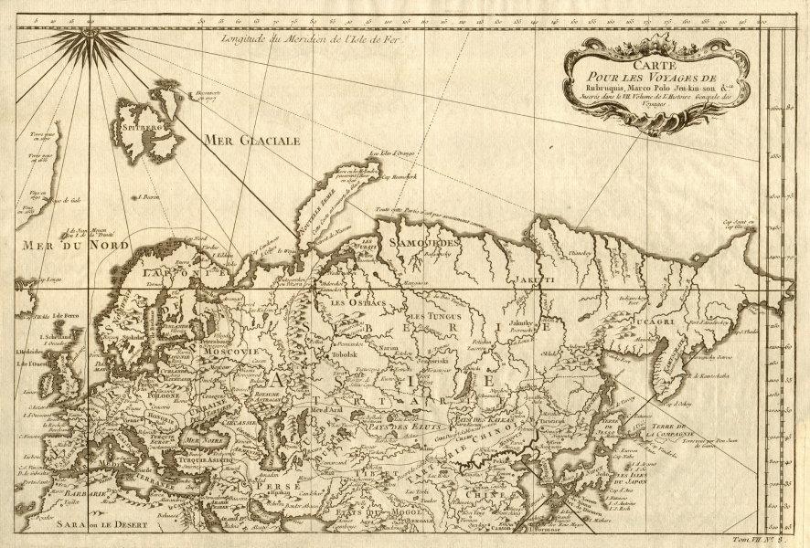 Associate Product 'Les voyages de Rubruquis, Marco Polo, Jenkinson' Asia explorers BELLIN 1749 map