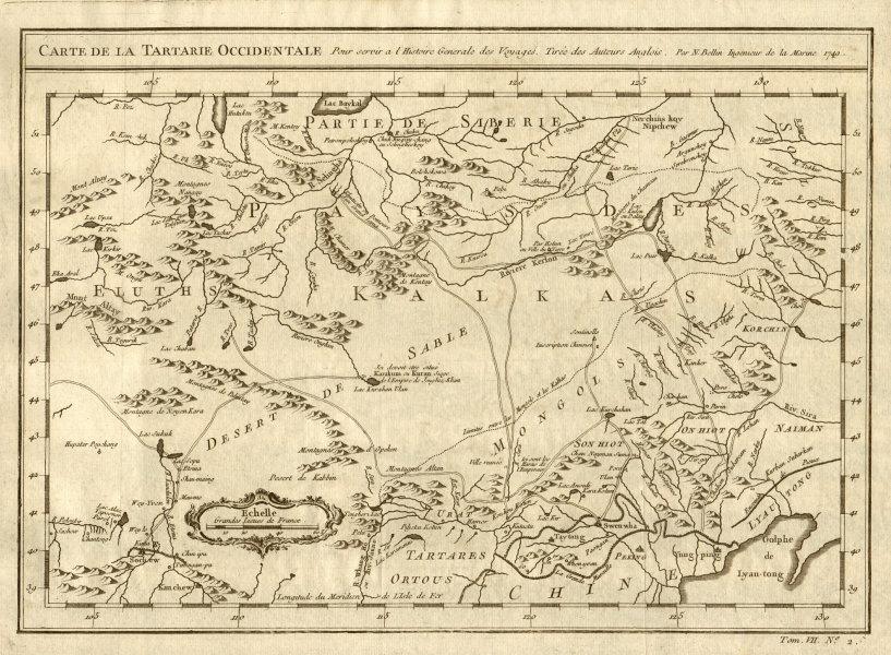 Associate Product 'Carte de la Tartarie Occidentale'. Mongolia W Tartary N China. BELLIN 1749 map