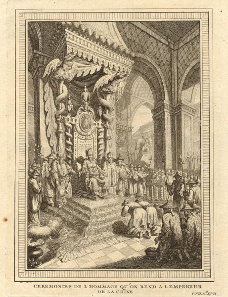 Associate Product 'Ceremonies de l'Hommage'. Paying homage to the Emperor of China 1749 print