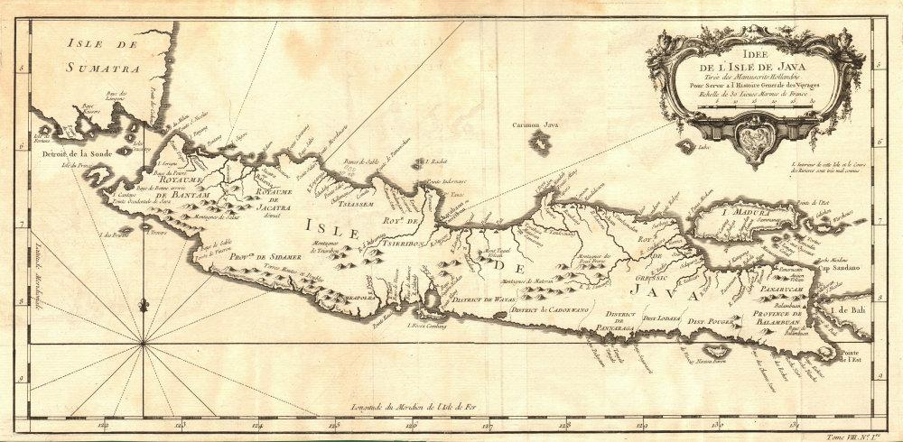 'Idée de l'Isle de Java'. Indonesia. Dutch East India Co. VOC. BELLIN 1750 map