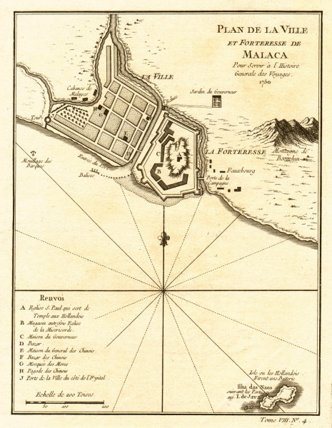 Associate Product 'Plan de la Ville et Forteresse de Malaca'. Malacca, Malaysia. BELLIN 1750 map