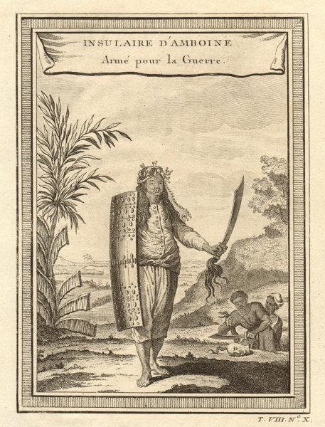 Associate Product Armed Ambon islander. Moluccas / Maluku, Indonesia. Dismembered head. Sword 1750