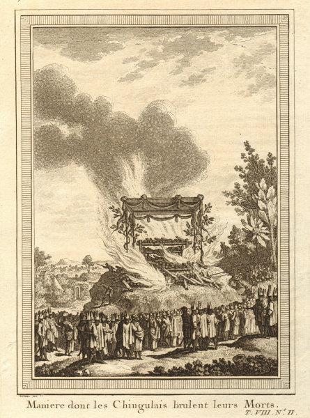 Associate Product 'Les Chingulais brûlent leurs morts'. Sri Lanka Ceylon. Cremating the dead 1750