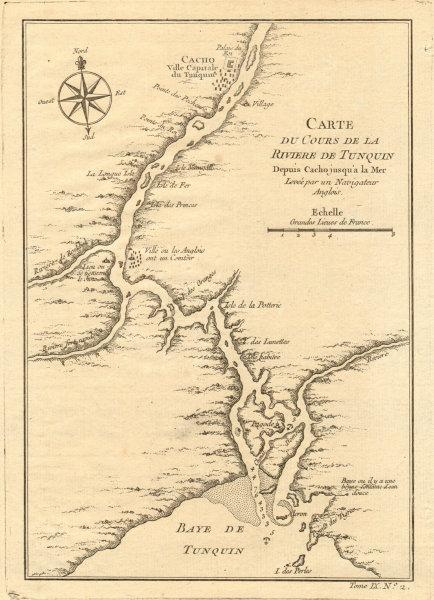 Associate Product 'La Rivière de Tonquin…'. Red River delta, Vietnam. Cacho/Hanoi. BELLIN 1751 map