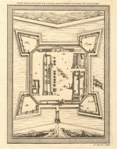 Associate Product 'Fort Hollandois de Paliacate… Gueldre'. Fort Geldria, Pulicat. BELLIN 1751 map