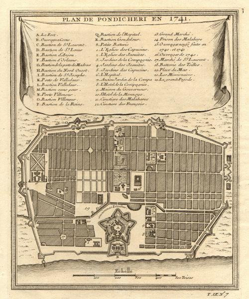 Associate Product 'Plan de Pondichery en 1741'. Pondicherry Puducherry city plan. BELLIN 1751 map