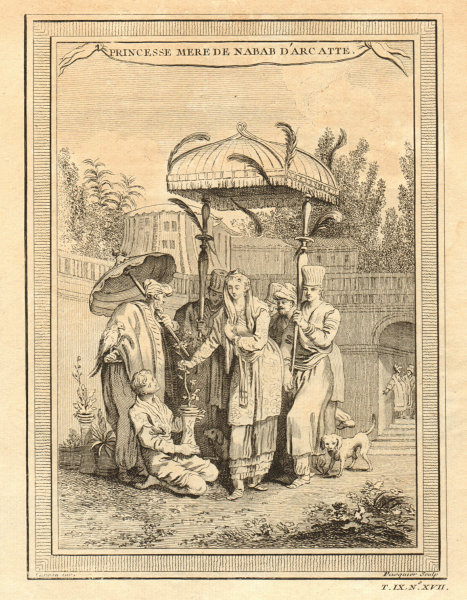 Associate Product Princess Mother of the Nawab of Arcot or Carnatic. India 1751 old print