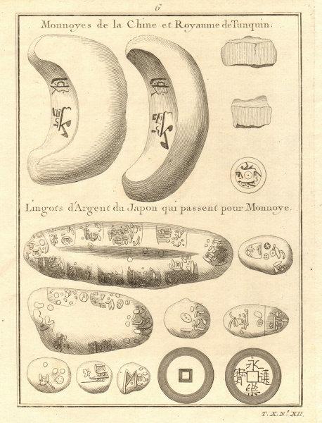 Associate Product Coins. China & Kingdom of Tonkin, Burma. Japanese silver ingots 1752 old print