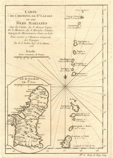 Associate Product 'Archipel de St. Lazare ou les isles Marianes'. Guam Saipan. BELLIN 1752 map
