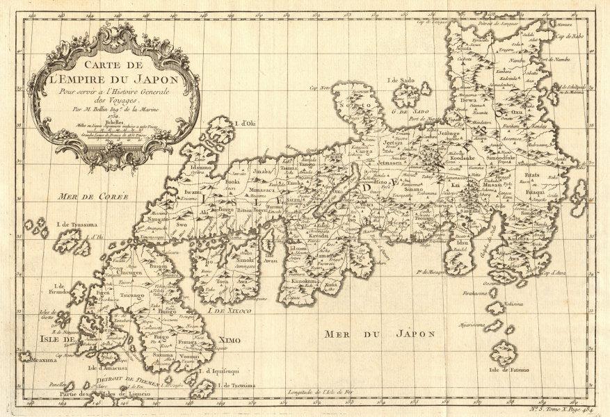 Associate Product 'Carte de l'Empire du Japon'. Empire of Japan. BELLIN 1752 old antique map
