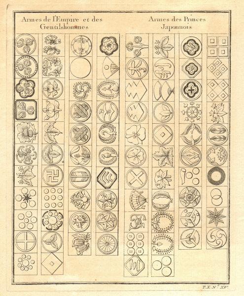 Associate Product Japan. Badges coats of arms of Empire, gentlemen & Japanese princes 1752 print