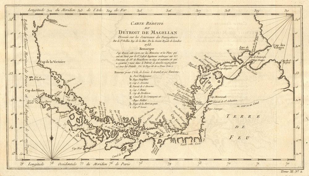 Associate Product 'Carte réduite du Détroit de Magellan' Strait, Chile. BELLIN 1753 old map