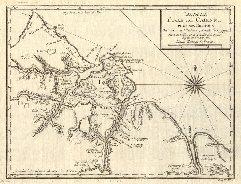 Associate Product 'Carte de I'Isle de Caienne'. Cayenne, French Guiana. Guyanas. BELLIN 1753 map