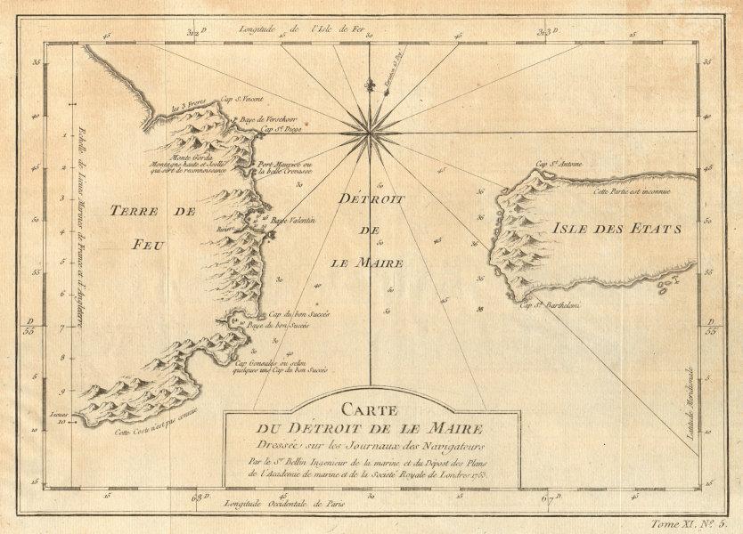 'Détroit de le Maire' Strait. Tierra del Fuego. Isla Estados. BELLIN 1753 map