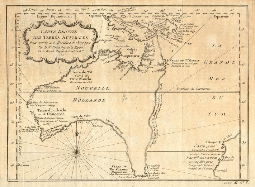 Carte Map Australia.Details About Carte Reduite Des Terres Australes Pre Cook Australia Nz Bellin 1753 Map