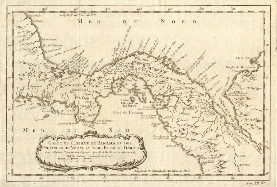 'Carte de l'Isthme de Panama & des Provinces de Veragua…' Darien BELLIN 1754 map