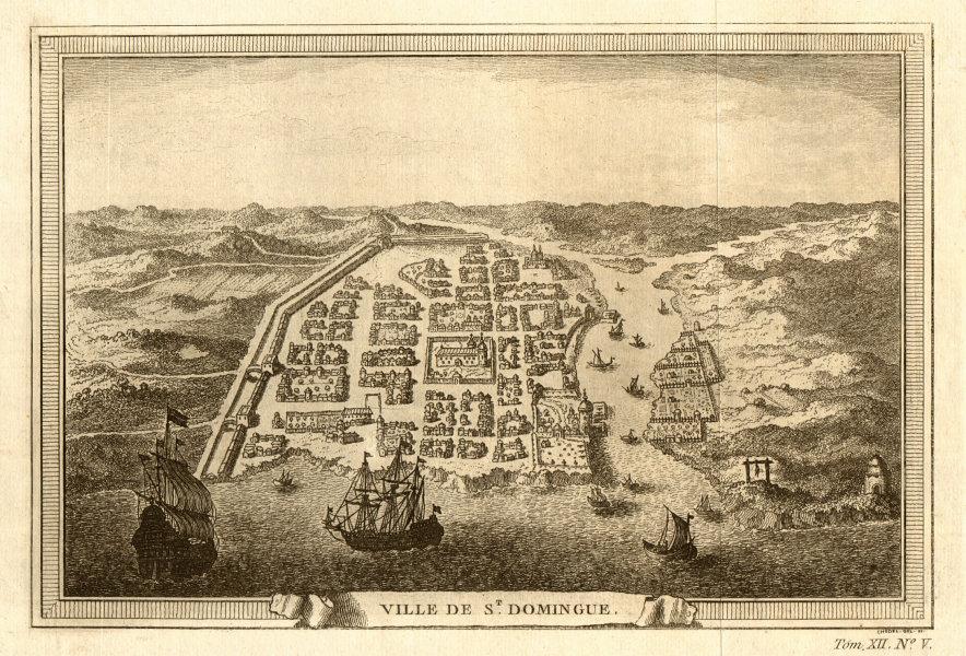 Associate Product 'St. Domingue'. Bird's eye view. City of Santo Domingo, Dominican Republic 1754