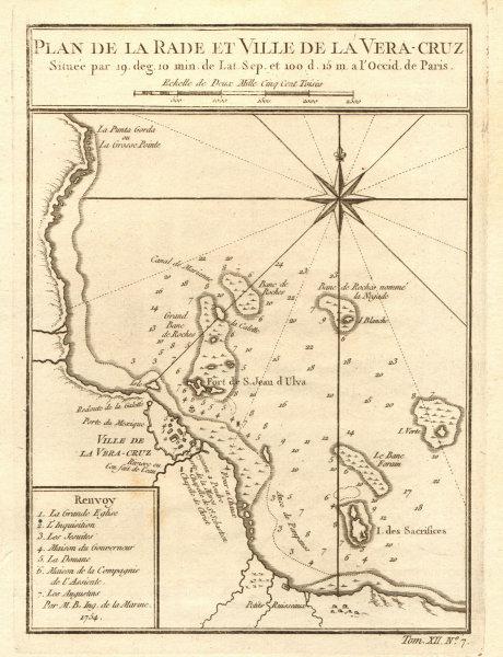 Associate Product 'Plan de la Rade & Ville de… Vera-Cruz'. Veracruz, Mexico. BELLIN 1754 old map
