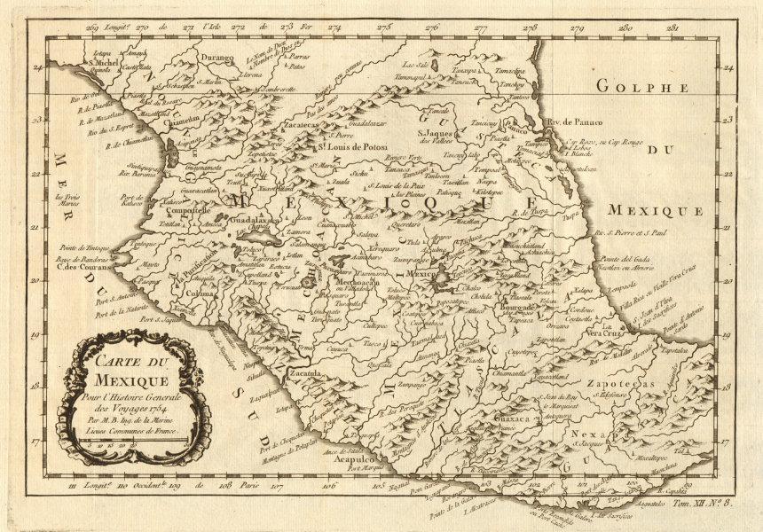 Associate Product 'Carte du Mexique'. Central Mexico. BELLIN 1754 old antique map plan chart