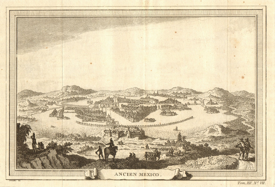 Associate Product 'Ancien Mexico'. Old colonial Mexico City & Lake Texcoco 1754 print