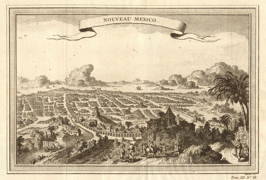 Associate Product 'Nouveau Mexico'. Mexico City as it was in the 18th century 1754 old print