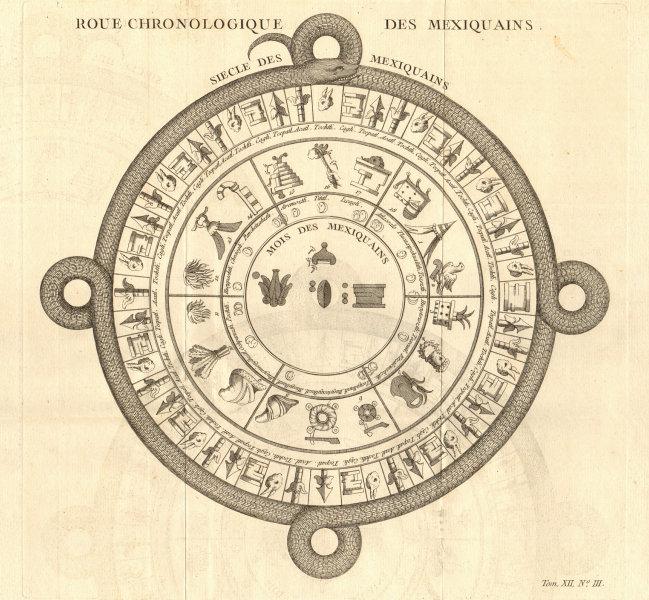 Associate Product 'Roue Chronologique des Mexiquains'. Mexico. Pre-columbian Atzec calendar 1754